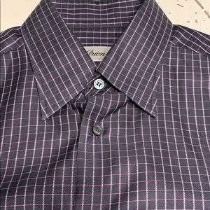 Brioni graph plaid sport shirt medium